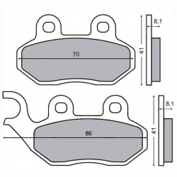Brake pad set Sym Jet Symphony Fiddle Orbit Simply - Peugeot Tweet - PGO - TGB - Generic
