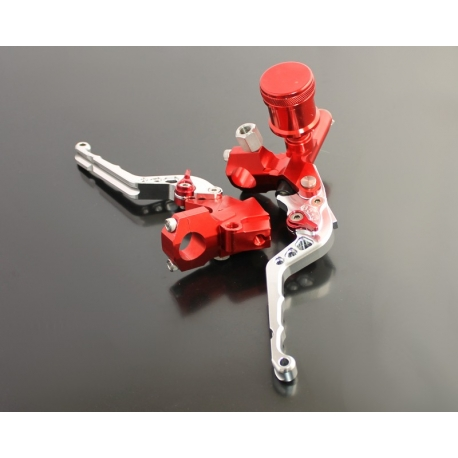Brake master cylinder with clutch lever CNC Silver and Red