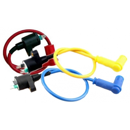 High tension coil in colors yellow blue red