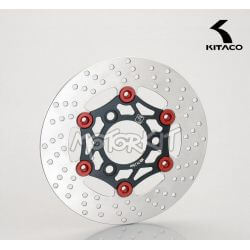 Kitaco remschijf voor Honda NSR - NSF - APE - XR Motard zwart - rood 220mm