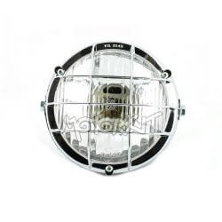 Universal round headlight - black and chrome with grill