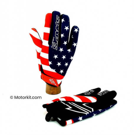 Off road gloves blue-red-white EC approved